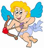 Happy cupid with bow and arrow