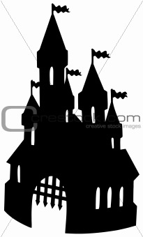 Old castle silhouette