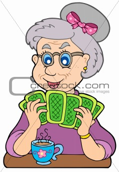 Old lady playing poker