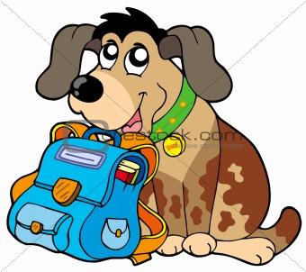 Sitting dog with school bag