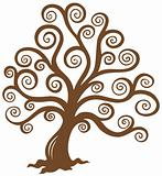 Stylized brown tree silhouette