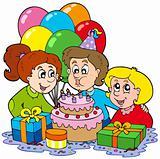 Three children at birthday party