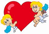 Two Cupids holding heart