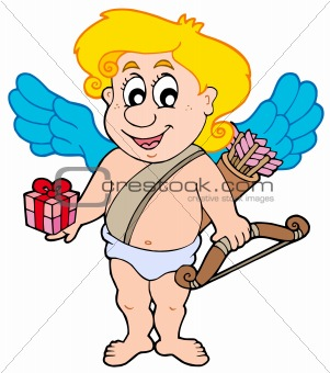 Valentine Cupid with gift