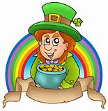 Banner with cartoon leprechaun