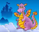 Big purple dragon with castle