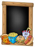 Blackboard with various cartoon meals