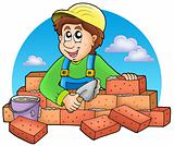 Cartoon bricklayer with clouds