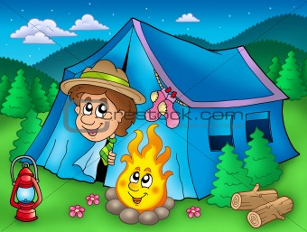 Cartoon scout boy in tent
