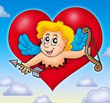 Cupid lurking from heart on sky