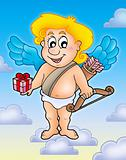 Cupid with gift on blue sky