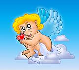 Cupid with heart on blue sky