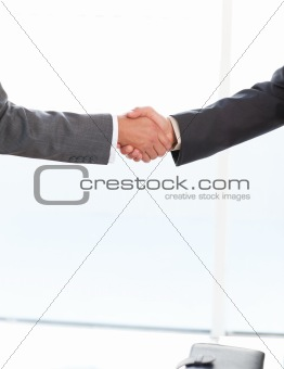 Close up of two businessmen shaking their hands standing in the