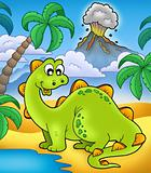 Cute dinosaur with volcano