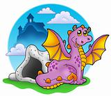 Dragon with cave and castle 2