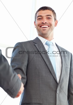 Close up of businessmen shaking hands standing in the office at work