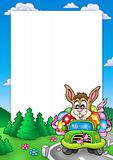 Easter frame with bunny driving car
