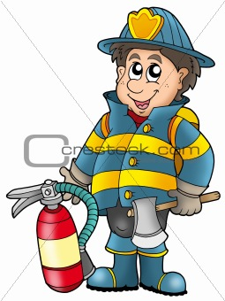 Fireman holding fire extinguisher