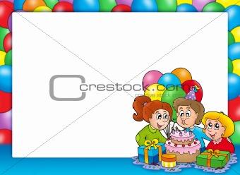 Frame with celebrating children