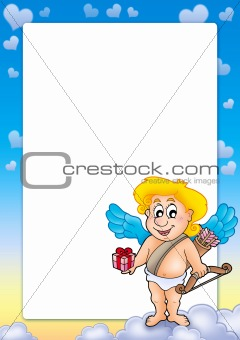 Frame with Cupid holding gift
