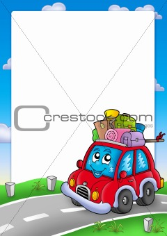 Frame with cute car and baggage