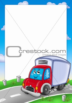 Frame with cute delivery car