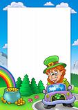 Frame with leprechaun driving car