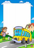 Frame with school bus and boy