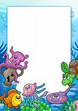 Frame with various marine animals