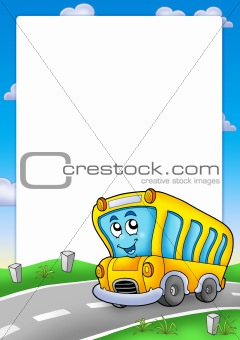 Frame with yellow school bus