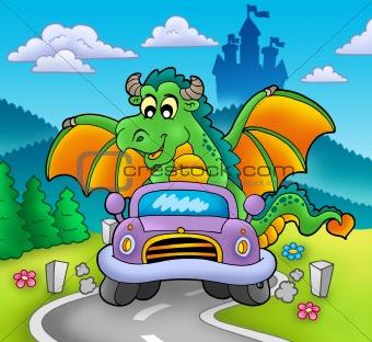 Green dragon driving car