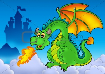 Green fire dragon with castle