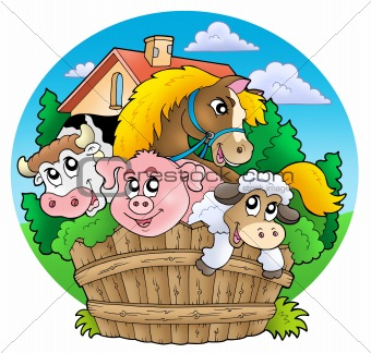 Group of country animals