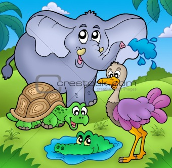 Group of various tropical animals