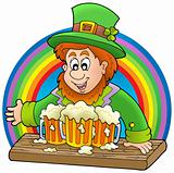 Leprechaun with beers and rainbow