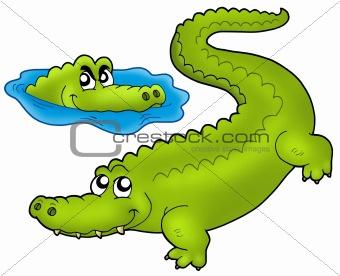 Pair of cartoon crocodiles
