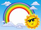 Rainbow frame with Sun in sunglasses