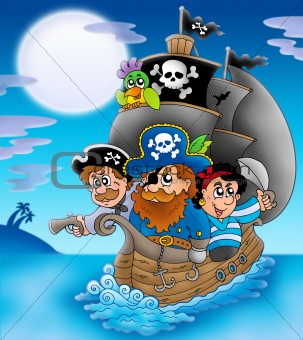 Sailboat with cartoon pirates at night