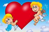 Two Cupids holding heart on sky