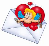Valentine envelope with Cupid