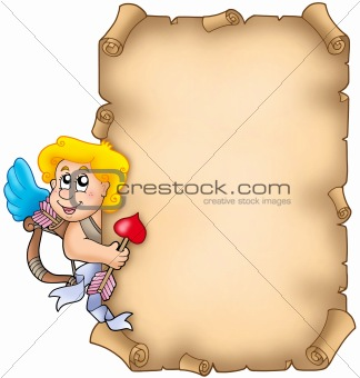 Valentine parchment with Cupid