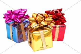 Three gift boxes with a bows