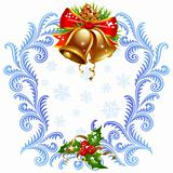 Christmas and New Year greeting card 5. Golden bells and holly