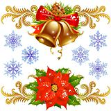 Christmas design elements set 2. Golden bells, poinsettia and snowflake