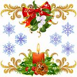Christmas design elements set 3. Mistletoe, candle and snowflake