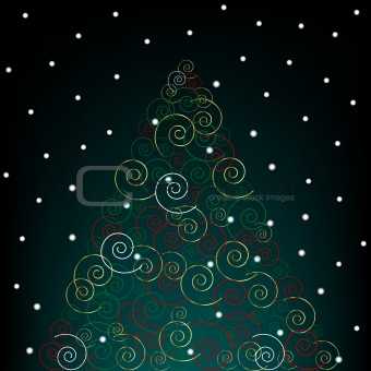 Abstract Christmas tree over black background