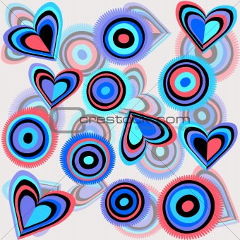 Background with funky colored hearts and circles