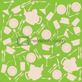 Green background with kitchen stuff