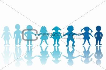 Group of blue children