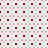 Retro black and white pattern with red circles